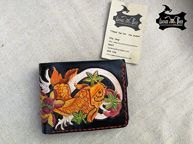 61f8953d73b4 Amazon.com: Handtooled Leather Wallet Koi Wallet Carp Fish Pattern ...