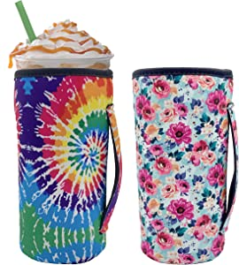 FreeNFond Reusable Iced Coffee Cup Insulator Sleeve for Cold Beverages and Neoprene Holder for 30oz - 32oz Tumbler Cup,Trenta Starbucks,Large Dunkin Donuts (Flowers+Fireworks)