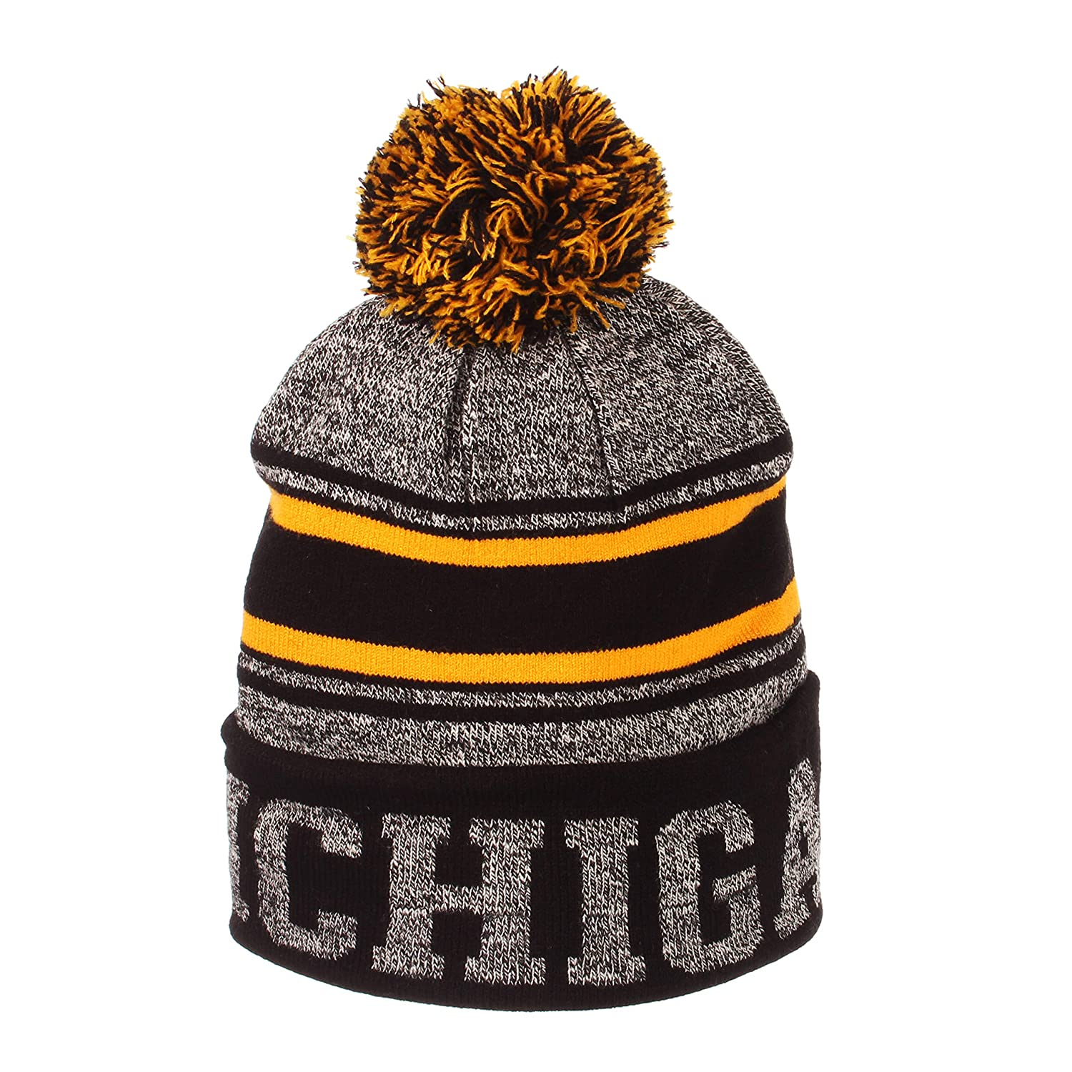 0590205e60840c Amazon.com: Michigan Wolverines Official NCAA Orbit Cuffed Pom Knit Beanie  Sock Hat by Zephyr 795811: Clothing