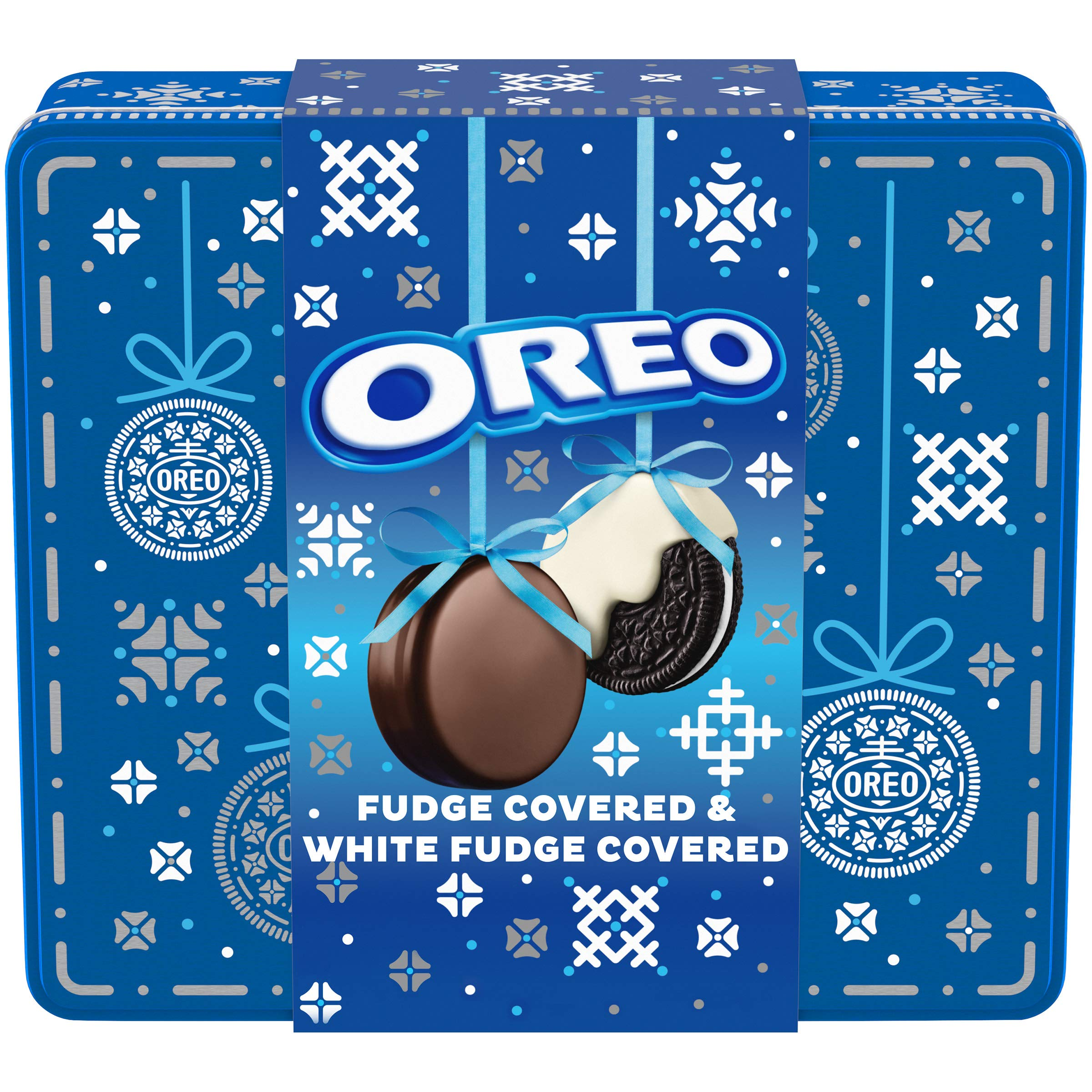 Oreo and Chocolate Sandwich Cookies Creme 24 Cookies Total, Original Flavor Crème Fudge & White Fudge Covered Holiday Gift Tin, 16.1 Ounce, (Pack of 8)