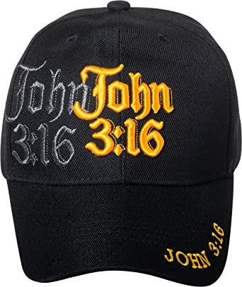 John 3:16 Jesus Cross Religious Embroidered Adjustable Baseball Hat Cap Black