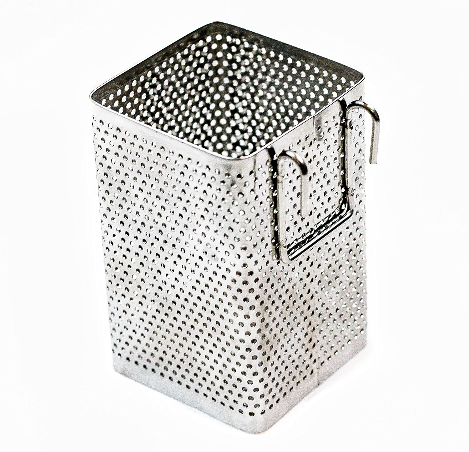 Kitchen Utensil Chopsticks Perforated Holder with Hooks - Stainless Steel - Dishwasher Safe - Small Square Caddy 2.5 X 3.9 X 2.5 JK Industries SYNCHKG120733
