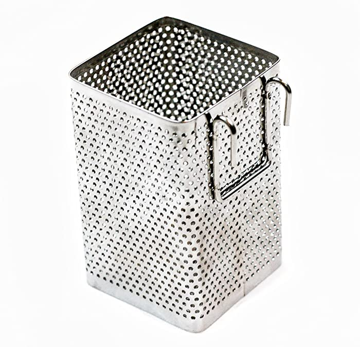 "Kitchen Utensil Chopsticks Perforated Holder with Hooks - Stainless Steel - Dishwasher Safe - Small Square Caddy 2.5"" X 3.9"" X 2.5"""