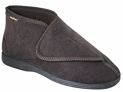 df758fad90e3b Mens Extra Wide Fit Brown Booty Slipper Ideal for Swollen Feet ...