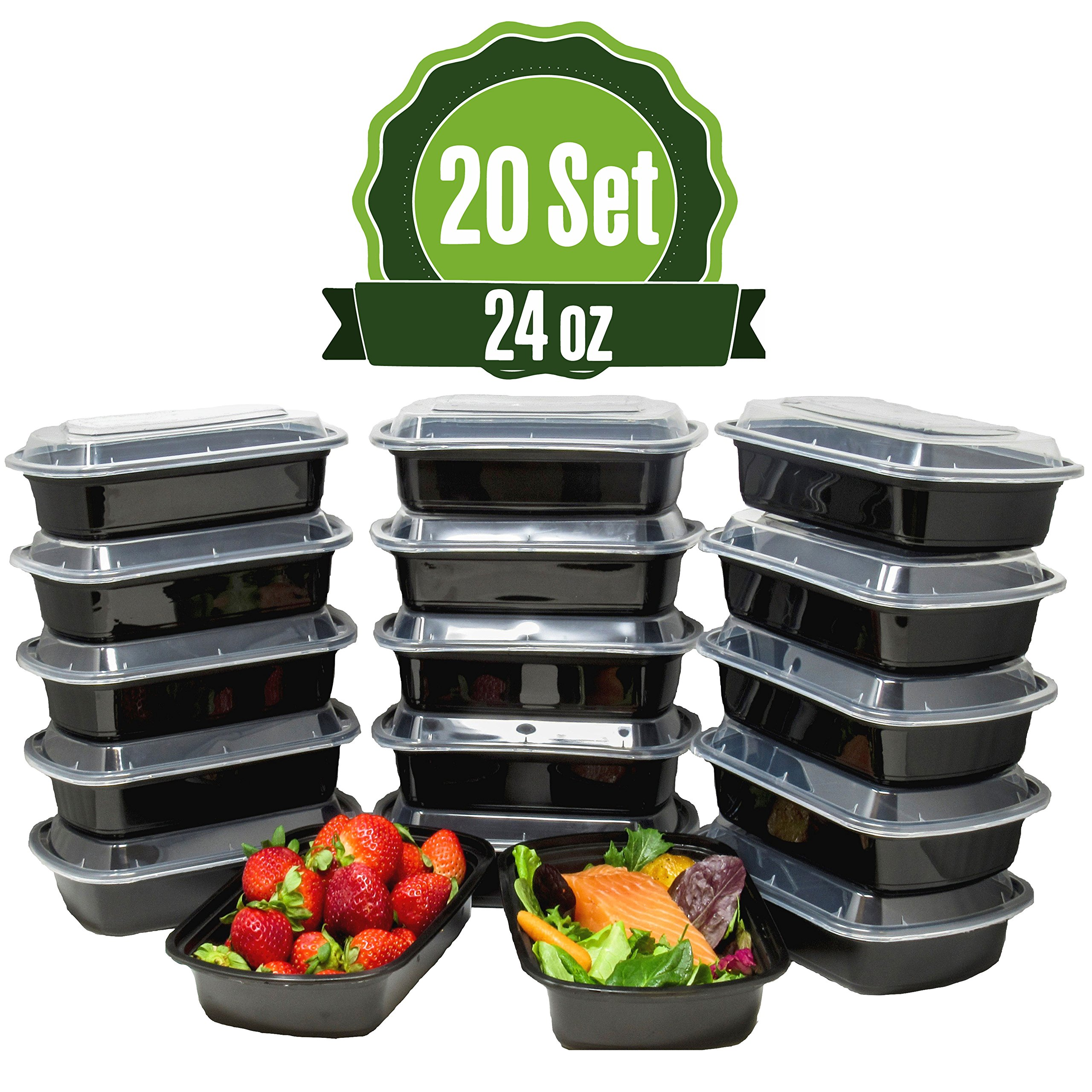 Meal Prep Food Storage Containers with Lids, 1 Compartment (24oz) by Shoplenty