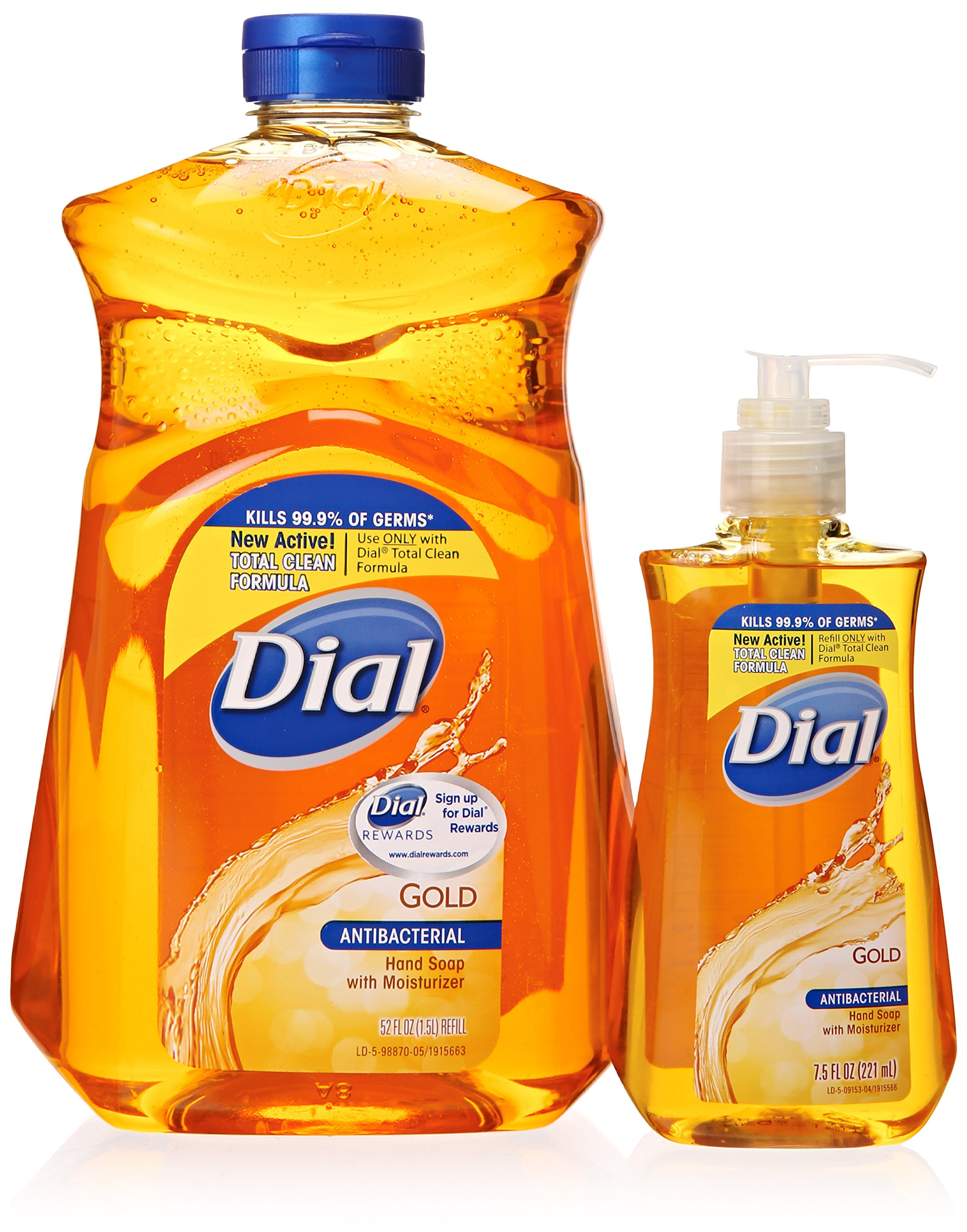 Dial Gold Antibacterial Liquid Soap with Moisturizer, 7.5 Oz Pump Bottle + 52 Oz Refill