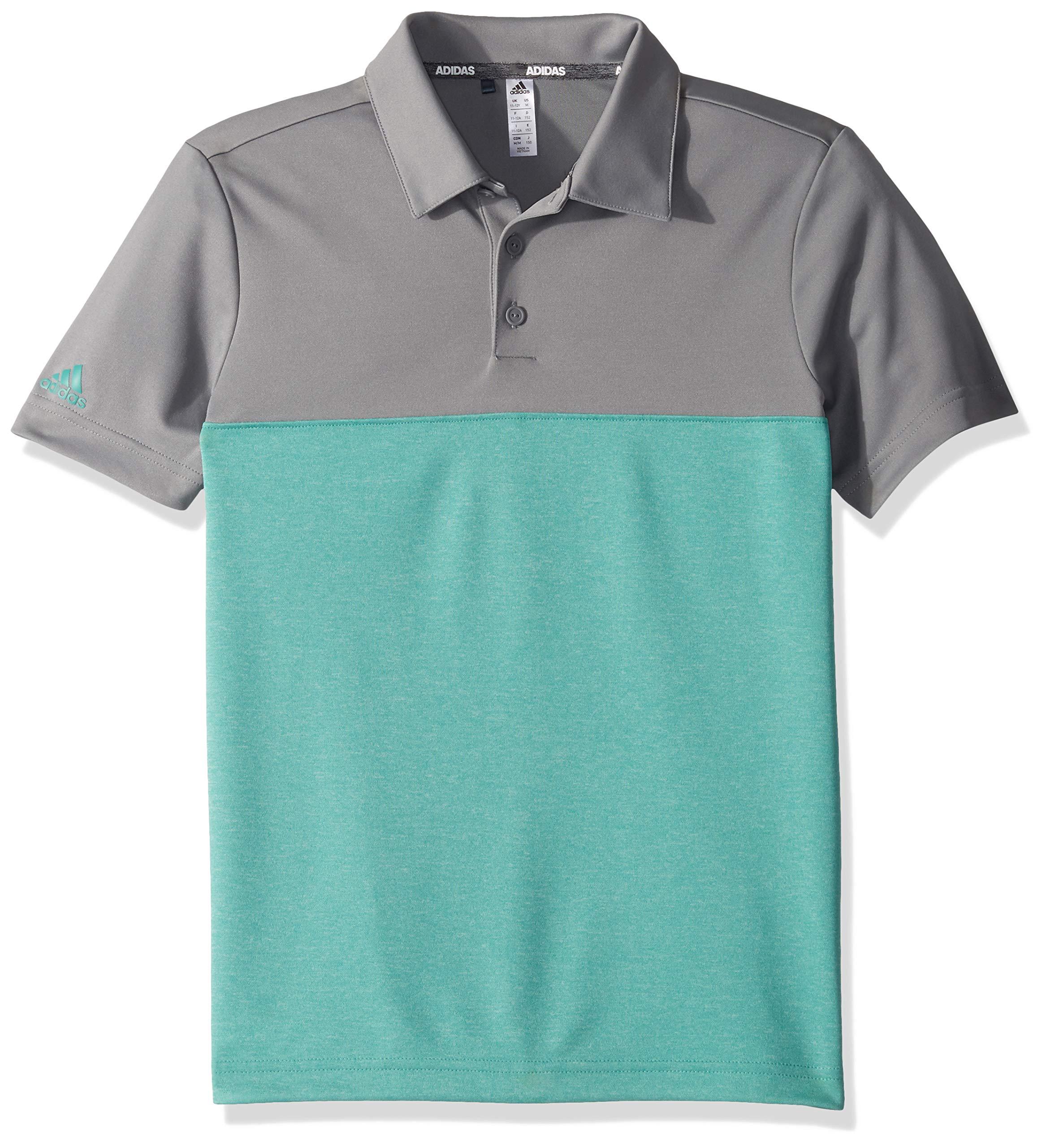 adidas Golf Heathered Color Blocked Polo, Grey Three/True Green Heather, Small by adidas
