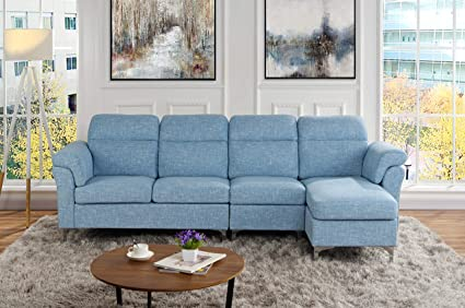 Casa Andrea Milano Modern Linen Fabric Large Sectional Sofa, L Shape Couch  (Light