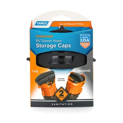 Camco RV Sewer Hose Storage Cap Set - Lug and Bayonet Caps | Allows You to Seal Both Ends of Your Sewer Hose Before Storing | Odor and Leak Proof Connection - 2 Pack (39752): Automotive