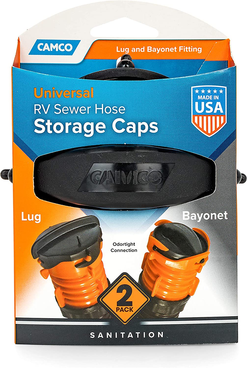 Lug and Bayonet Caps 2 Pack 39752 Camco RV Sewer Hose Storage Cap Set Odor and Leak Proof Connection Allows You to Seal Both Ends of Your Sewer Hose Before Storing