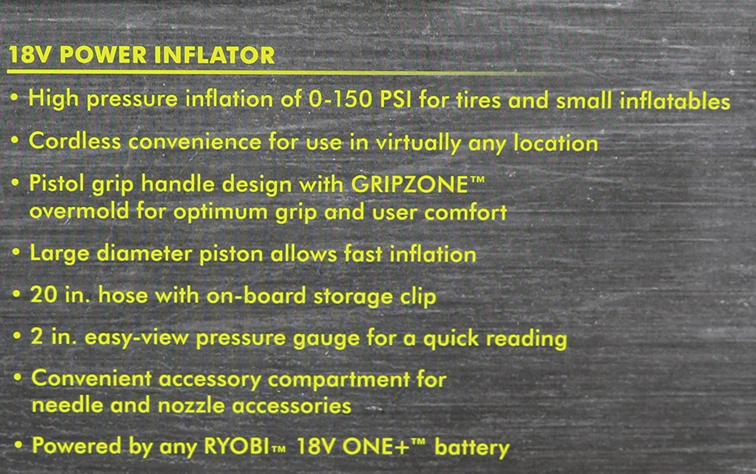 Portable Cordless Power Inflator for Tires Battery Not Included, Power Tool Only Ryobi P737 18-Volt ONE