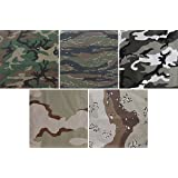 "5 Pack - Jumbo Bandanas Camouflage Cotton Military Headwraps 27"" x 27"""