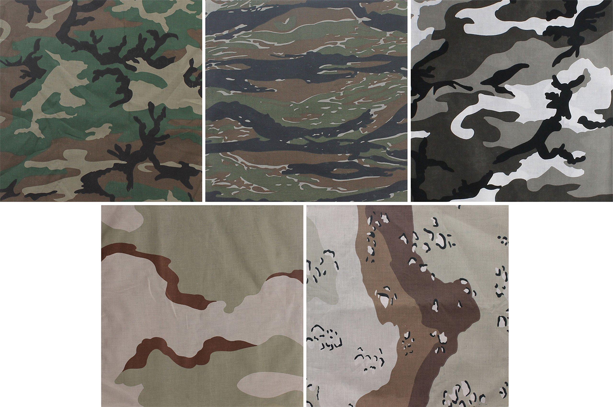 5 Pack - Jumbo Bandanas Camouflage Cotton Military Headwraps 27'' x 27''