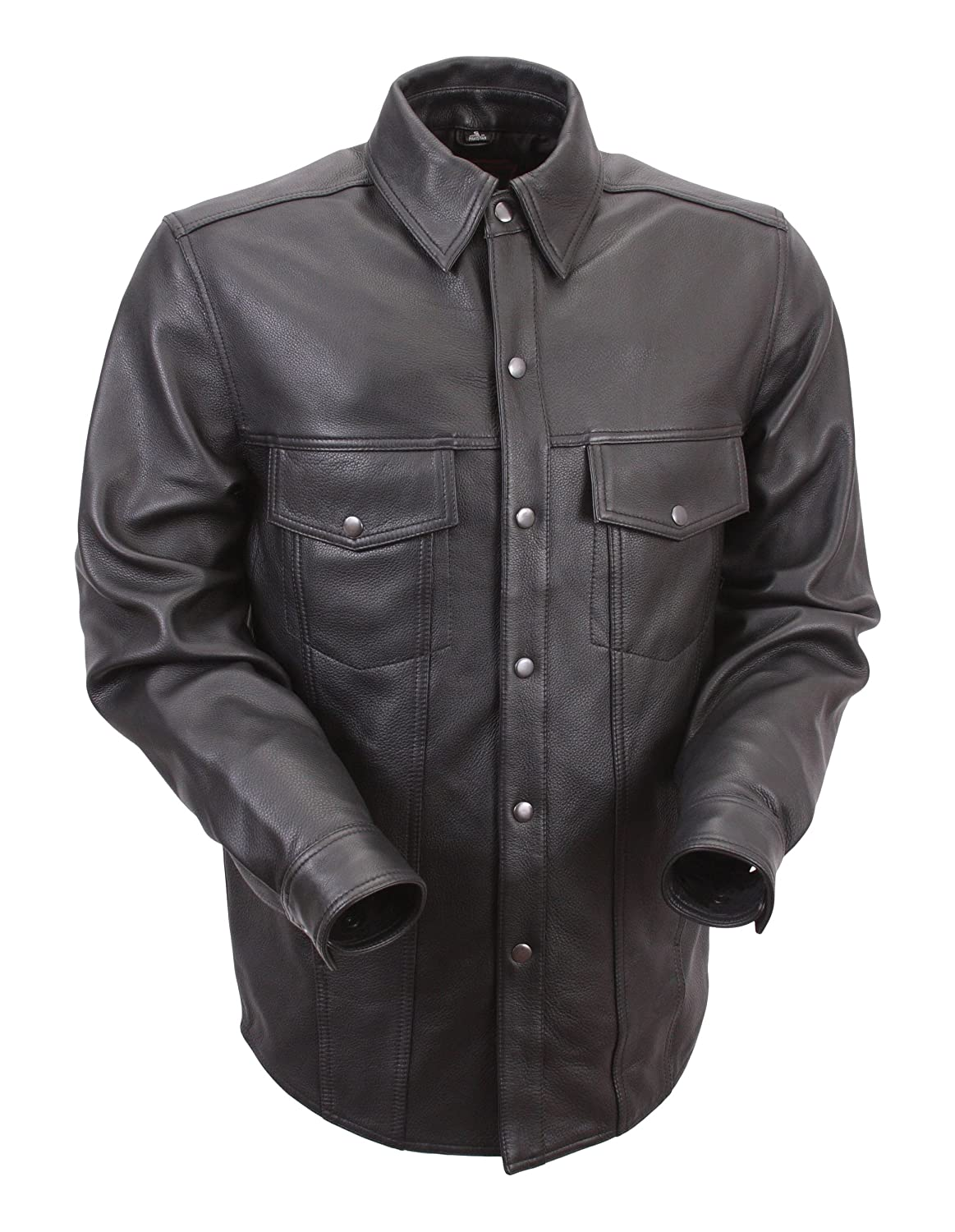 0fe413740 First Classics Men's Lightweight Leather Shirt (Black, Large)