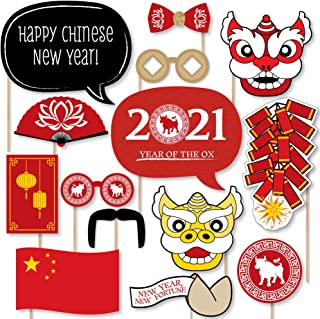 product image for Big Dot of Happiness Chinese New Year - 2021 Year of the Ox Photo Booth Props Kit - 20 Count