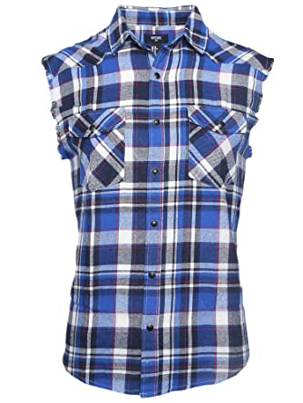 af0780152374 NUTEXROL Men's Casual Flannel Plaid Shirt Sleeveless Cotton Plus Size Vest  Blue and White 3XL at Amazon Men's Clothing store:
