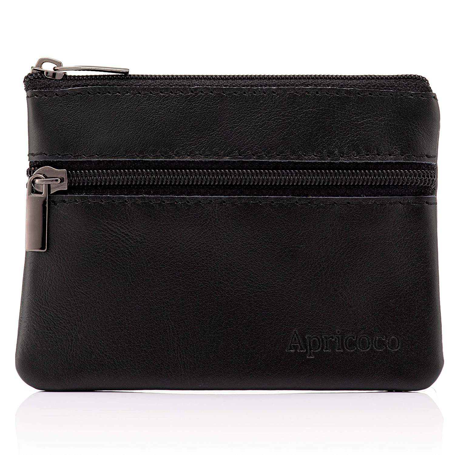 Black Leather Pocket Wallet Credit Card Holder and Coin Pocket Purse with Zipper and Gift Box APRICOCO RFID Blocking Coin Purse Wallet and Pouch for Women and Men