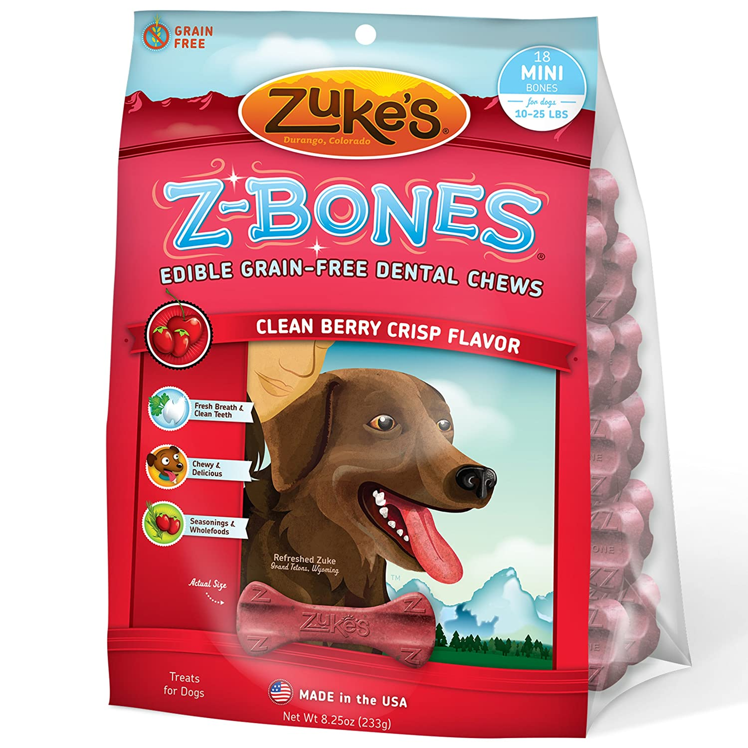 Amazon Zuke s Z Bones Dog Dental Chews Clean Berry Crisp