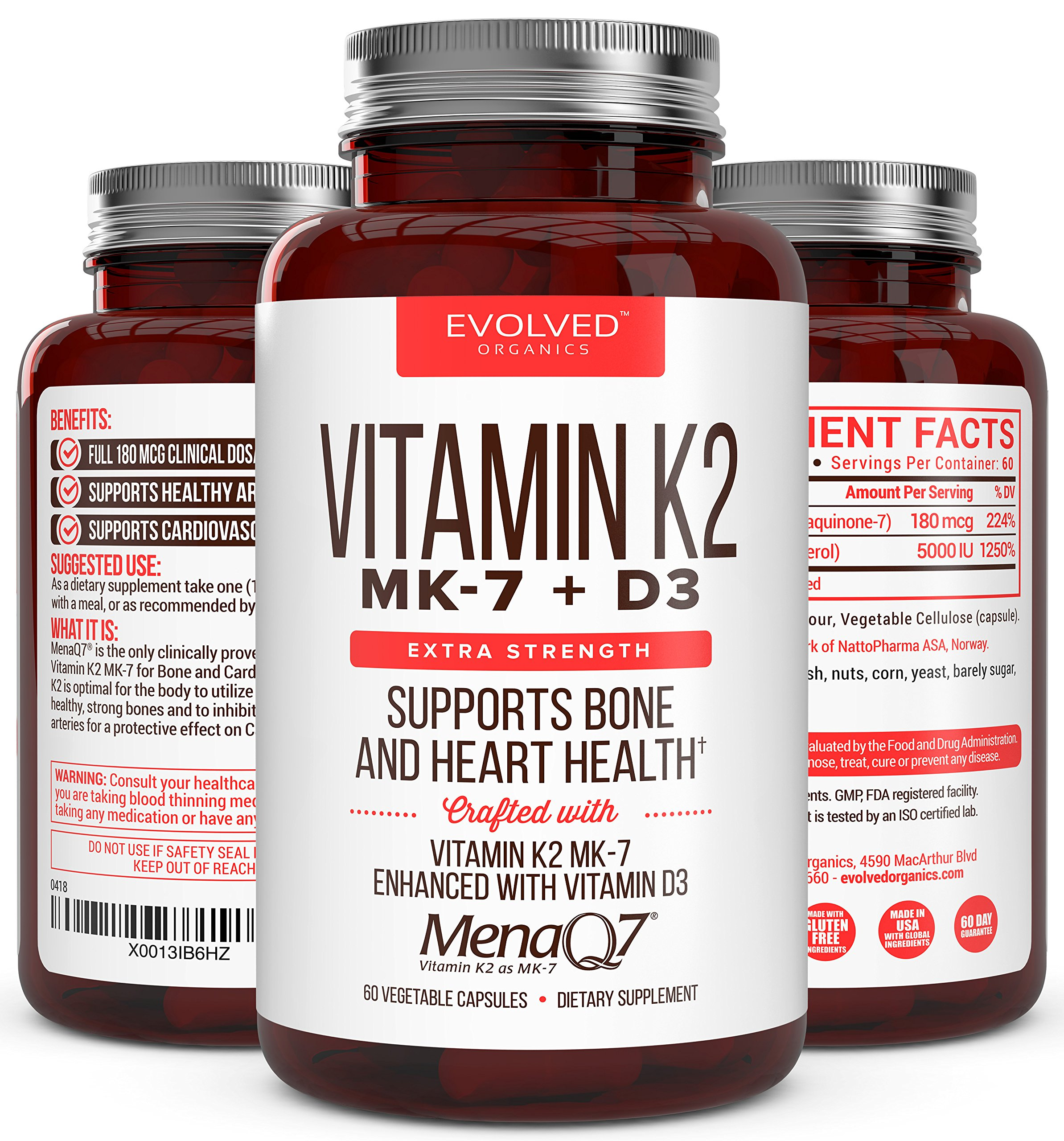 Premium Extra Strength Vitamin K2 with D3 – Vitamin D3 K2 MK7 Supplement for Healthy Bones, Healthy Heart & Cardiovascular Health- MenaQ7 180 mcg & Vitamin D3 5000 IU-Vitamin K Complex- 60 Capsules