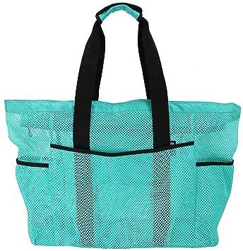 Amazon.com: QOGiR bolsa de playa de malla, grande, ligera ...