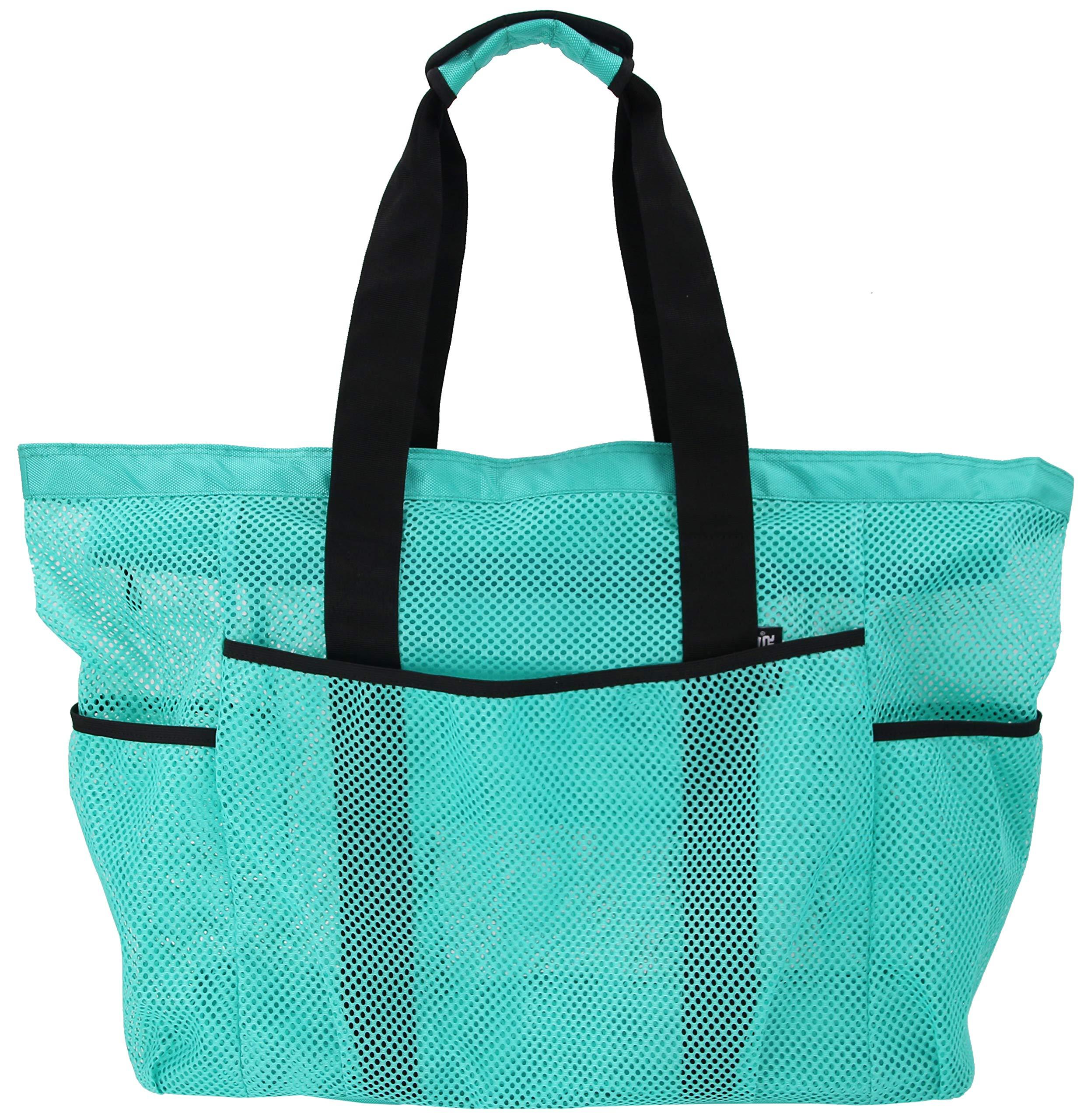 QOGiR Mesh Beach Bag Tote- Large, Light Weight, Durable and Zip Top Closure (Green)