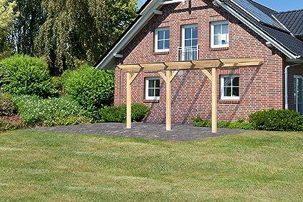 Pergola toldo madera 456 × 322 cm (13.39 m2) con tejado de ...