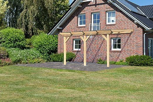 Pergola toldo madera 456 × 322 cm (13.39 m2) con tejado de policarbonato + Extensión Simple m3tb: Amazon.es: Jardín