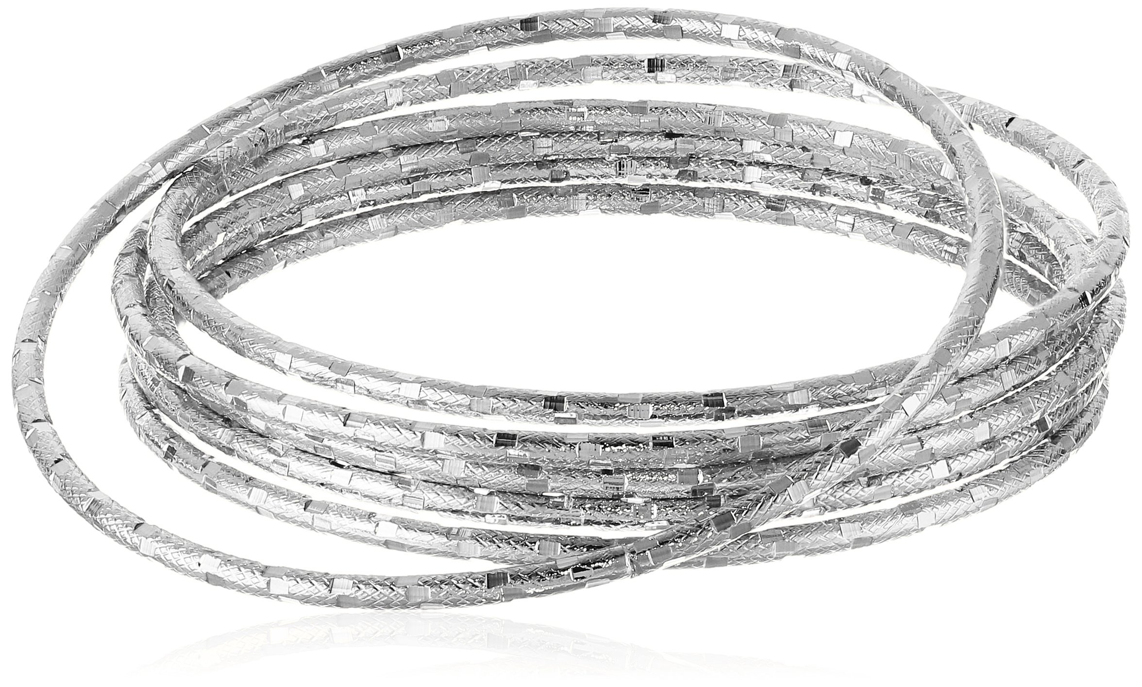 Panacea Silver Diamond Cut Bangle Bracelet
