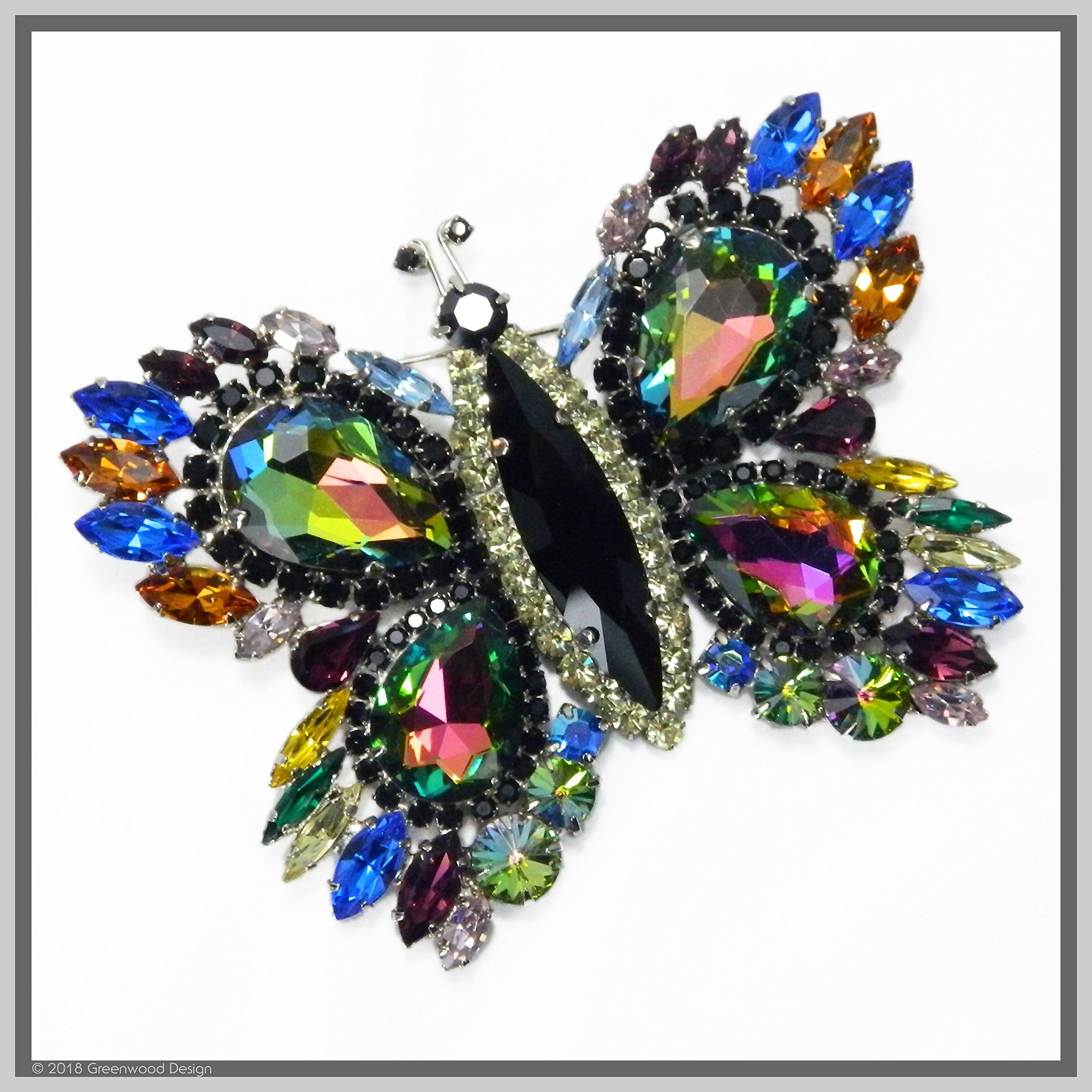 Vintage Inspired Jewelry Art Butterfly Brooch Pin Watermelon-Winged Swarovski Crystal Rhinestones