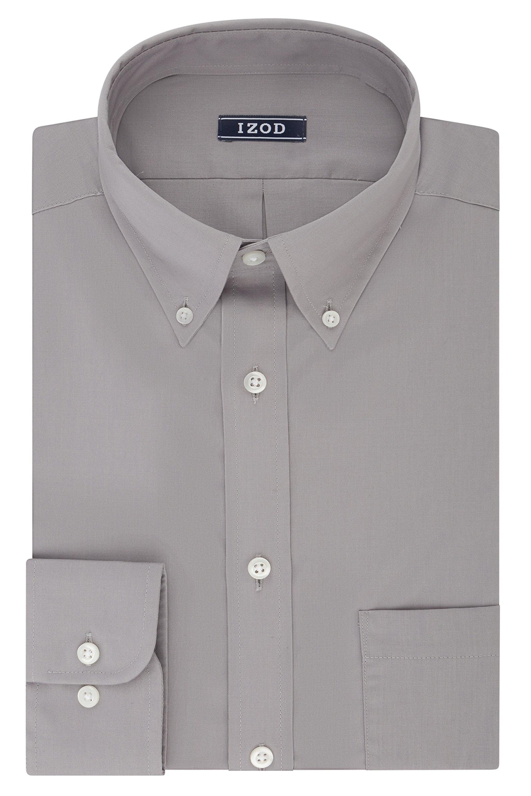 IZOD Men's Regular Fit Stretch Solid Buttondown Collar Dress Shirt, Slate, 17''-17.5'' Neck 32''-33'' Sleeve