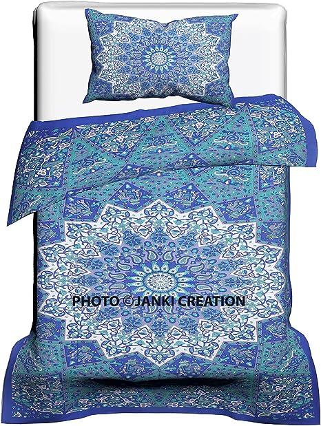 New Handmade Indian Cotton Mandala Bedding 2 Pillow Cover+Duvet Cover+1 Tapestry