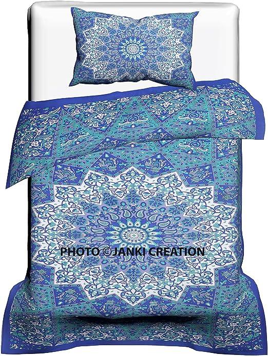 Reversible Bohemian Indian Cotton Mandala Twin Hippy Boho Maroon Duvet Cover Set