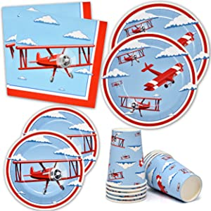 """Airplane Party Supplies Tableware Set 24 9"""" Dinner Plates 24 7"""" Plate 24 9 Oz. Cups 50 Lunch Napkins Time Flies Taking Flight Plane Themed Disposable Paper Goods For Baby Shower & Birthday Party Decor"""