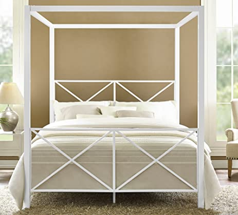 Amazoncom DHP Rosedale Metal Canopy Bed Queen Size White