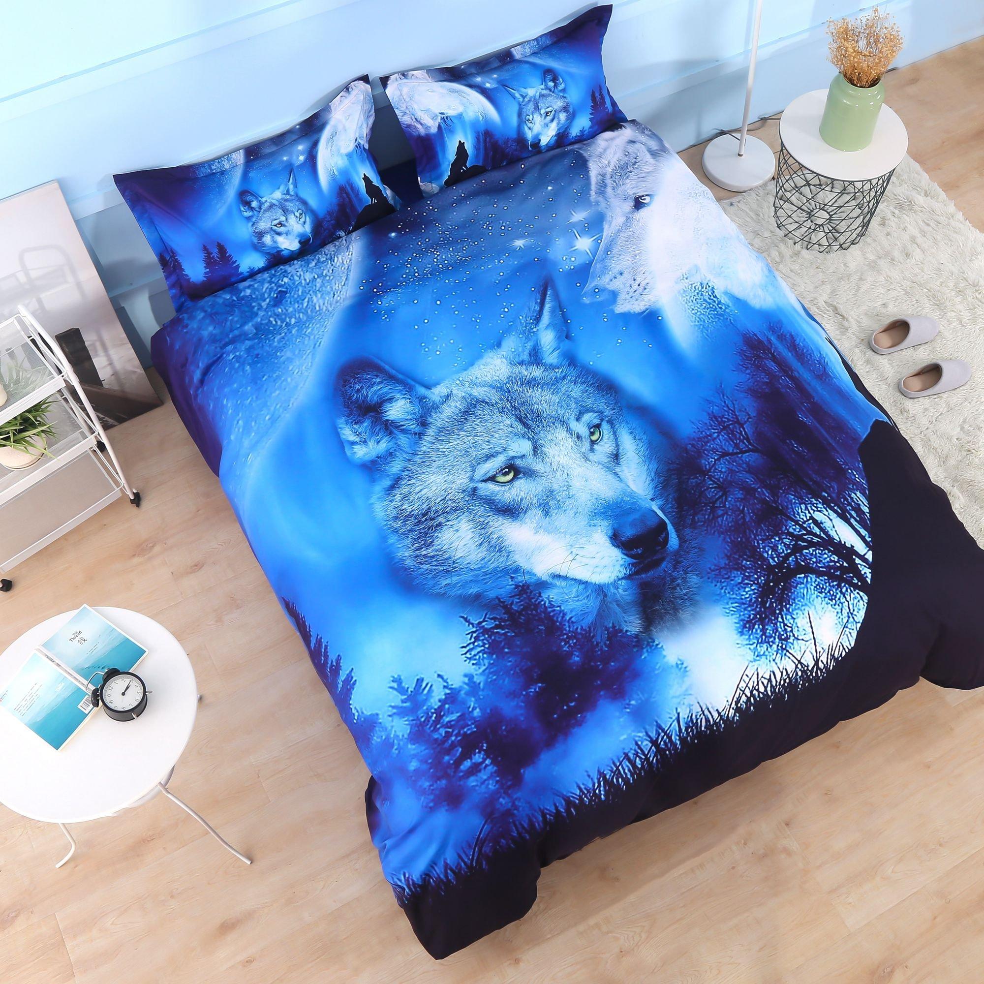 Beddinginn 4Pcs 3d Tencel Cotton Blend Blue Wolf Bedding Sets Duvet Cover Set.1 Duvet Cover+2 Pillowcase+1 Flat Sheet.No Comforter Included(King Size 102''x90'')
