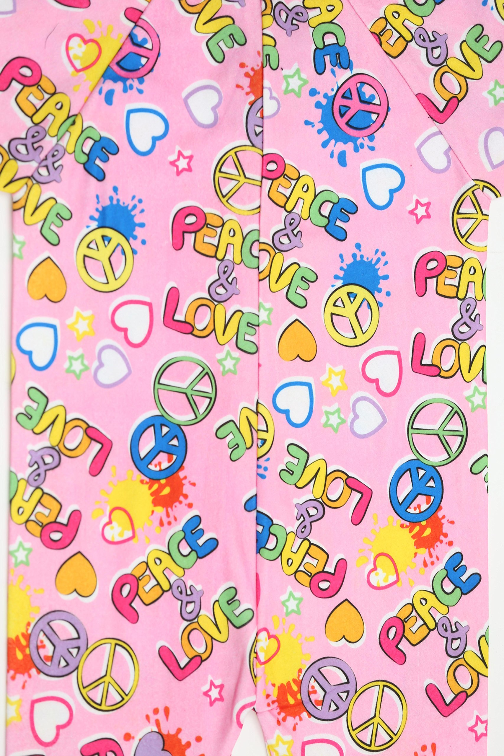 Just Love Printed Flannel Blanket Sleepers Peace Love Girls' 10-12 by Just Love (Image #1)