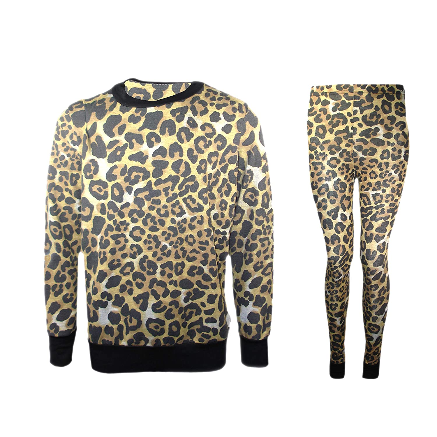 Kids Girls Leopard Print T Shirt Top /& Leopard Legging Outfit Set Age 2-13 Years
