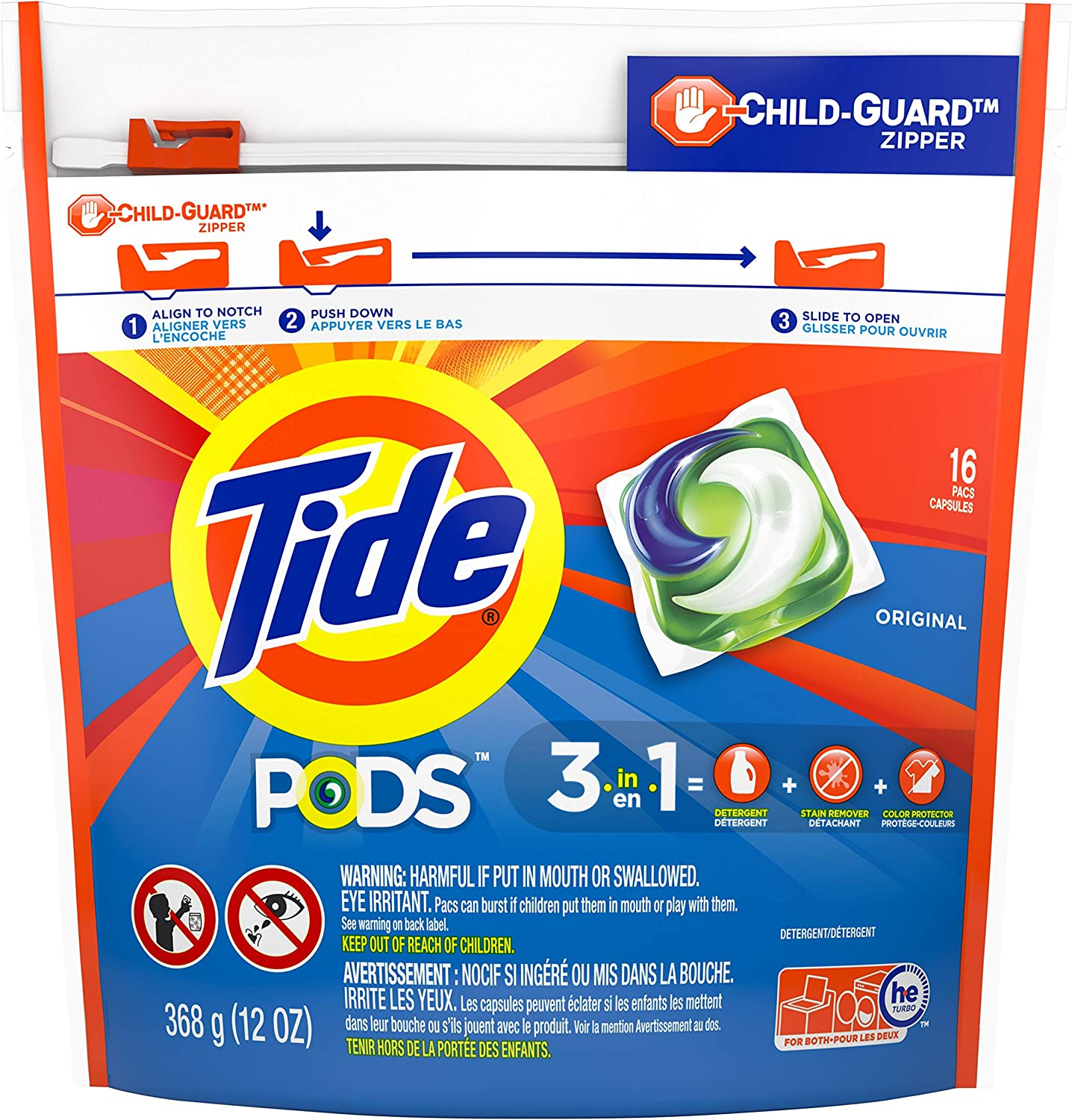 Tide Pods,Liquid Detergent, Original Scent, 16 count