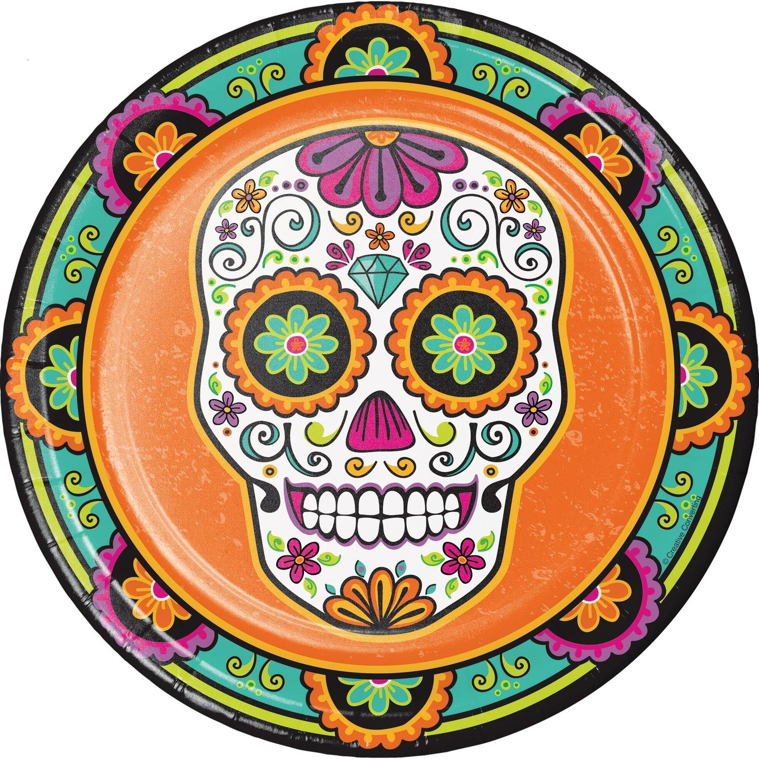 Pack of 96 Orange and Green Day of the Dead Disposable Party Dinner Plate 8.75''