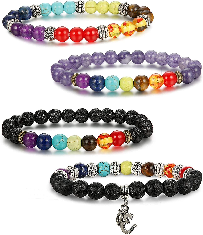 7 Chakra Bracelets 8 mm pierre naturelle Violet Perles Charme Femme Homme Bracelet