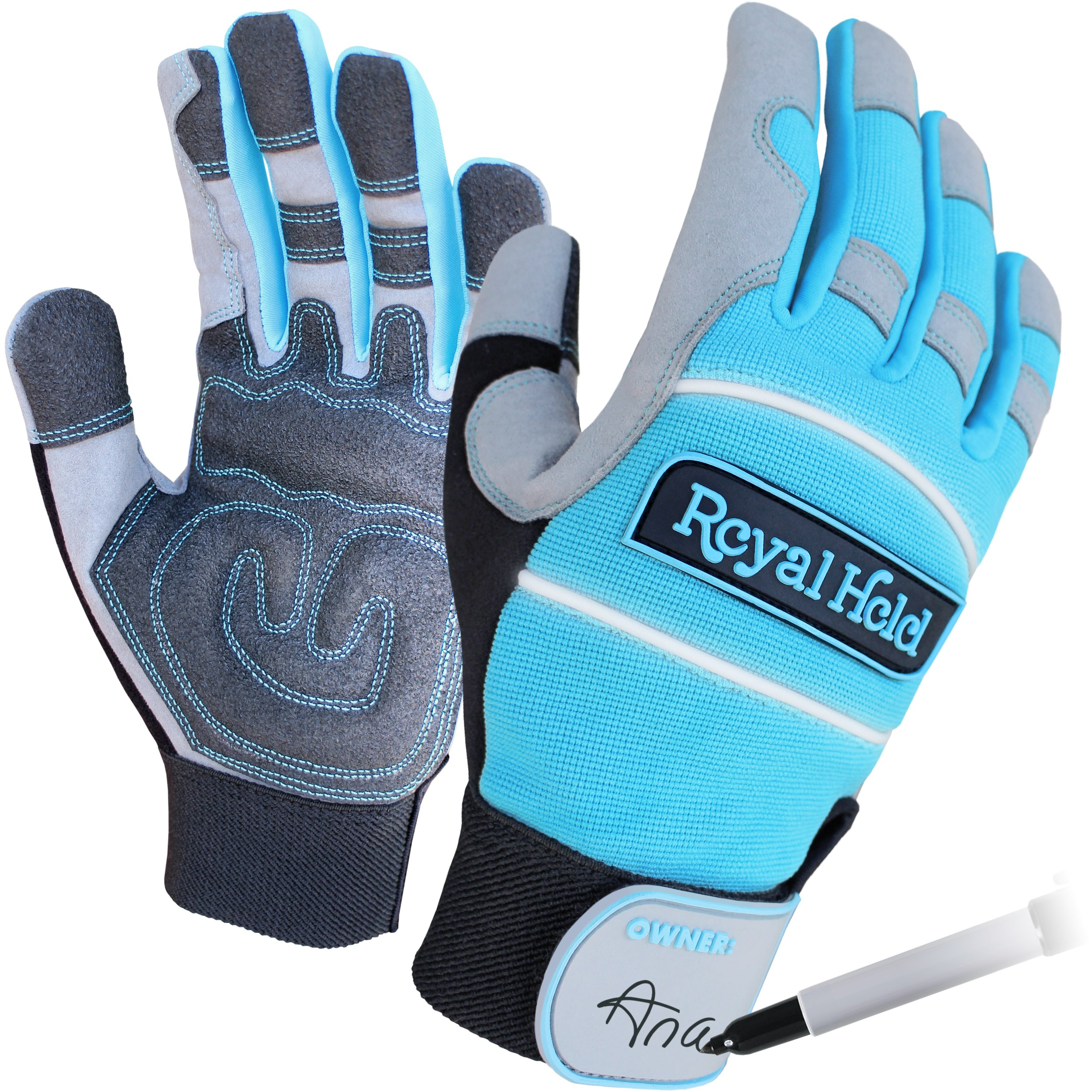 Extra Large Womens Gardening / Yard / Work Gloves by Royal Hold - 4 Sizes - Focused on Support and Protection. Gardening Gloves Women Will Find Comfortable. Teal / Silver / Black Garden Gloves.