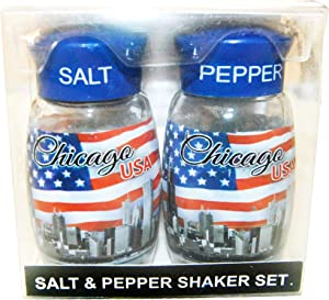 Chicago Skyline Wrapped with American Flag Designed Salt and Pepper Shaker Set