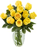 KaBloom Yellow Sunshine Bouquet of 12 Fresh Cut Yellow Roses (Long Stemmed) with Vase