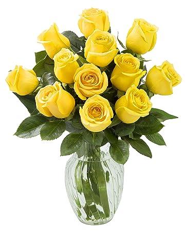 Amazon Kabloom Yellow Sunshine Bouquet Of 12 Fresh Cut Yellow