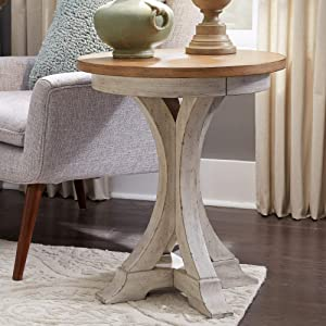 Liberty Furniture Industries Farmhouse Reimagined Round Chair Side Table, W21 x D21 x H25, White