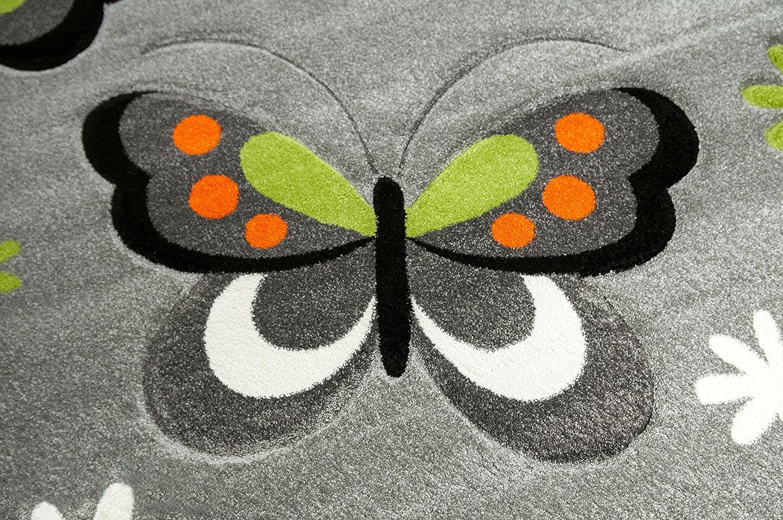 Tapis Enfants de Jeu de Tapis Papillon Design Gris Rouge Vert Noir et Blanc Gr/ö/ße 140x200 cm