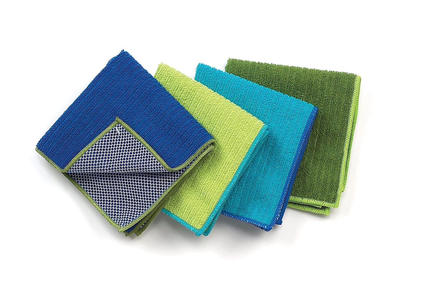 Ritz 60025 Microfiber 12 by 12-Inch Dish Cloth with Poly Scour Side, 4-Pack, Assorted Blue/Green