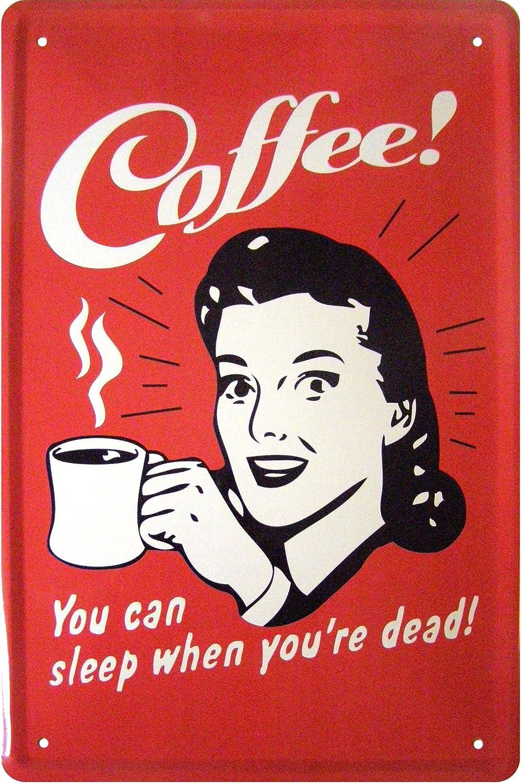 /You Can Sleep When You Re Dead K/ÜCHE Coffee/ Cartello Targa in metallo