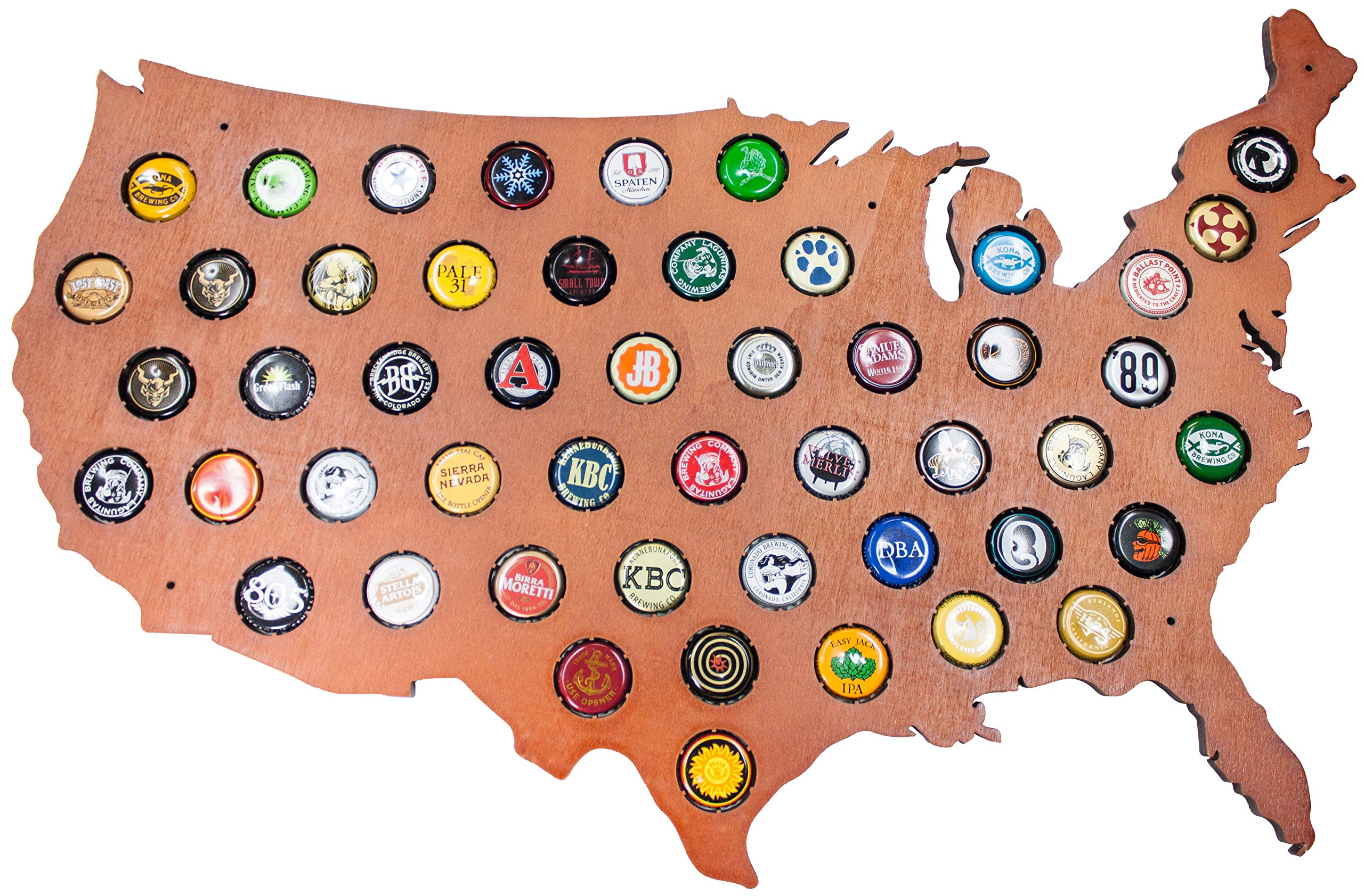 USA Beer Cap Map with Cherry Stain - Craft Beer Cap Holder