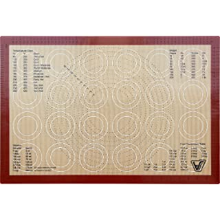 """Silicone Baking Mat - Full Sheet Size (Thick & Large 24 1/2"""" x 16 1/2"""") - Non Stick Silicon Liner for Large Bake Pans & Trays - Rolling, Macaron/Pastry/Cookie/Bun/Bread Making - Professional Grade"""